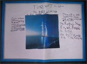 Burj Al Arab - my son's school project on Jumeriah's Burj Al Arab hotel in Dubai