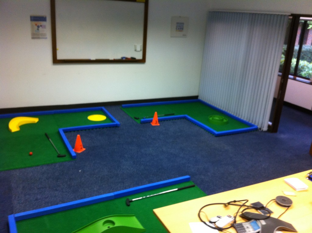 Mini Golf hole layout at corporate activity