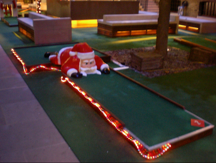 Christmas themed Crazy Golf Course at Devonshire Square, London