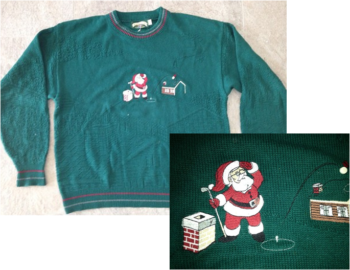 Golf Christmas Jumper - Santa playing golf!