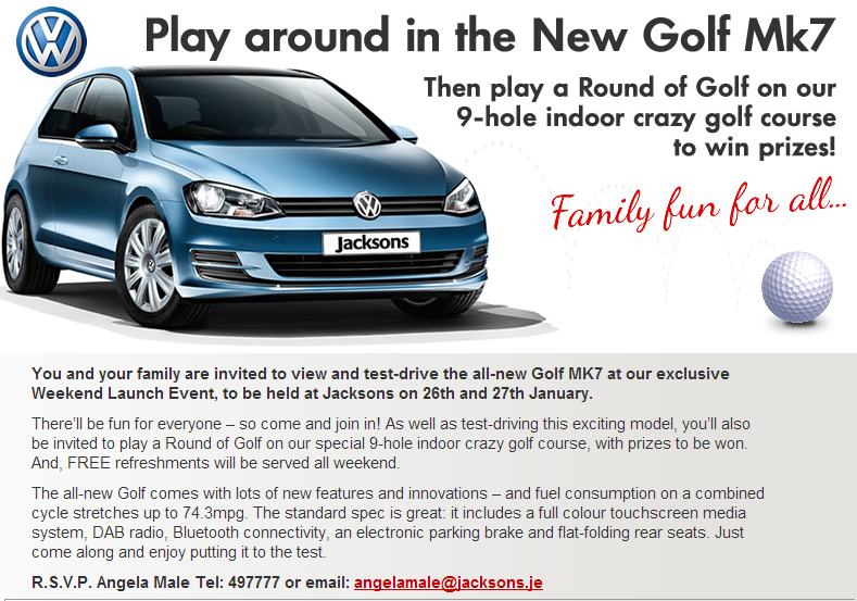 Play around in the new VW Golf - Crazy golf event at Jacksons, Jersey