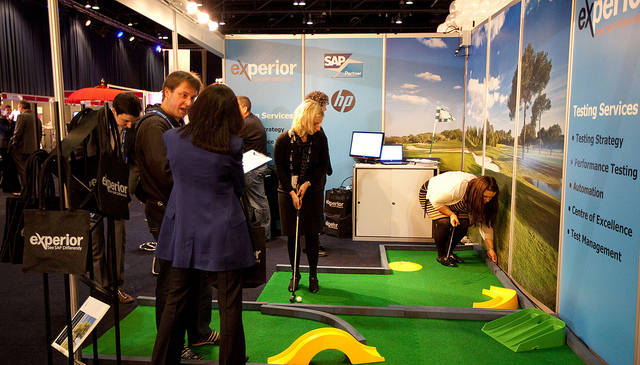 Challenge Putt Portable Putting Green used on an exhibition stand in Manchester