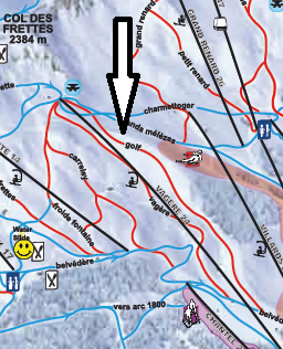 Piste Map showing GOLF red run