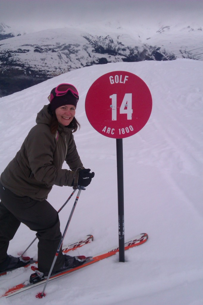 Skiing at Les Arcs on aptly named slope GOLF