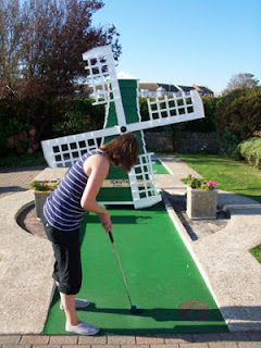 Mini golf at Bognor Regis course with windmill