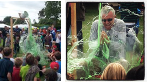 Mr Quigley getting gunked at the end of the fete!
