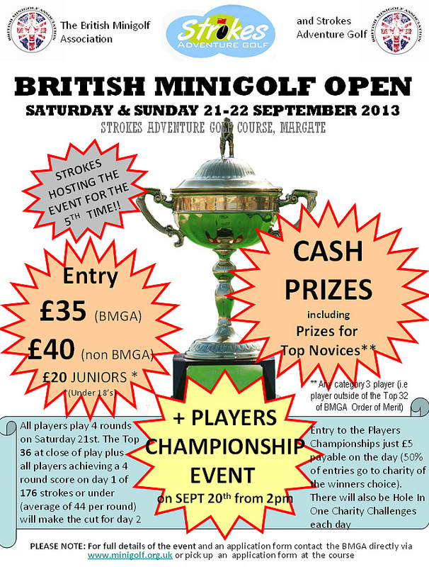 The flagship event of the BMGA tour, the BRITISH OPEN returns to Strokes Adventure Golf on national Miniature Golf Day.