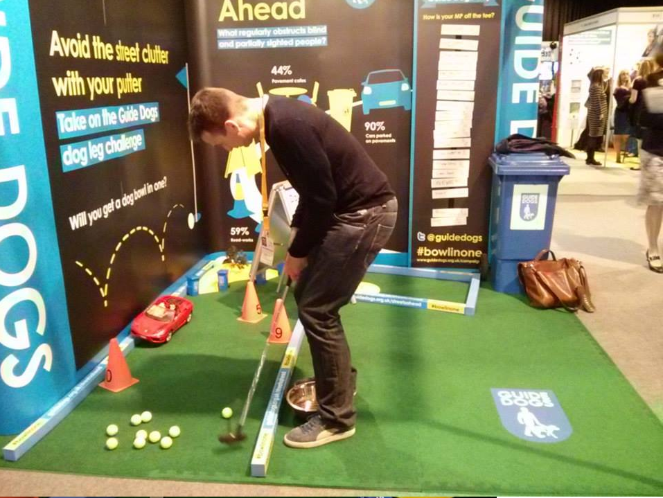 Exhibition Stand House : Guide dogs tee off with mini golf at public affair awards
