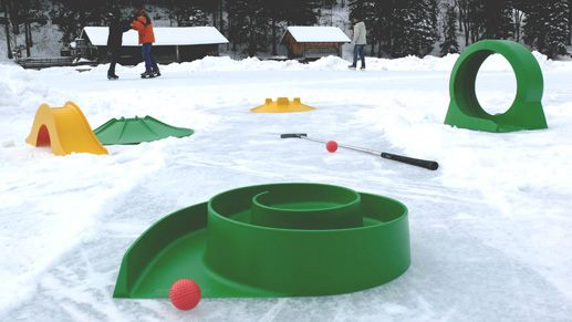 Mini Golf obstacles in the snow