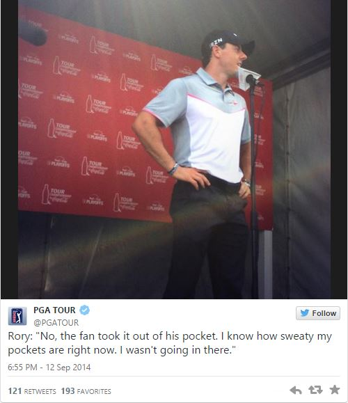 Rory's hole in one shot goes into spectators pocket