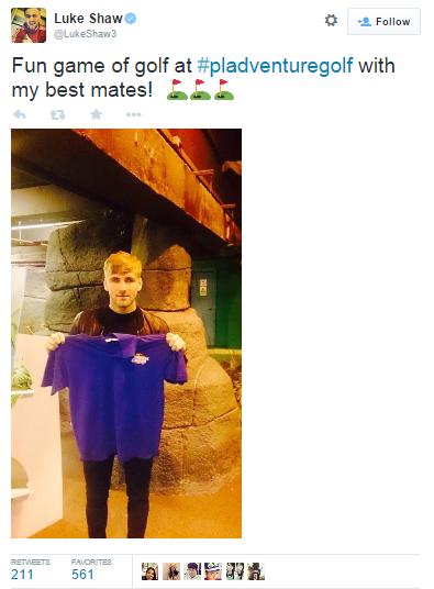 Luke Shaw enjoys minigolf