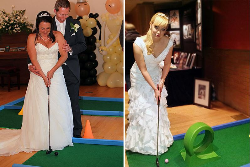 Wedding Mini Golf - fun for brides, grooms and all the family - and romance