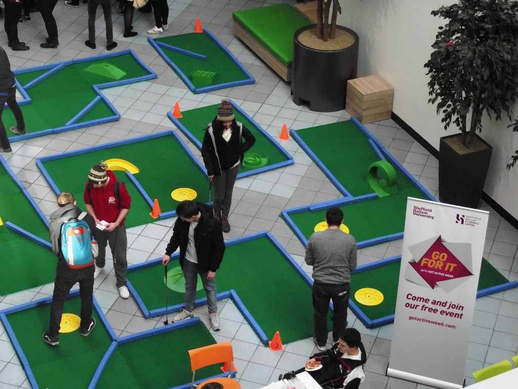 Aerial view of Portable Crazy Golf at Sheffield Hallam | Putterfingers.co.uk