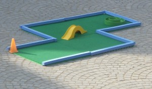 The S-bend hole using interlocking astro grass tiles