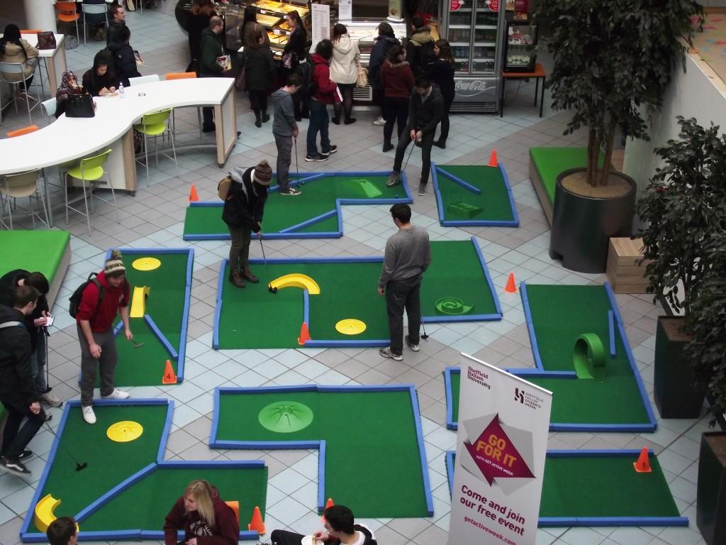 Portable Mini Golf in an atrium