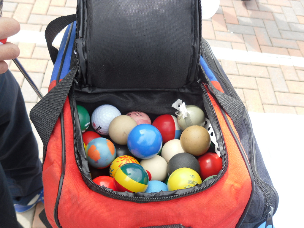 A variety of mini golf balls are available for tournament players