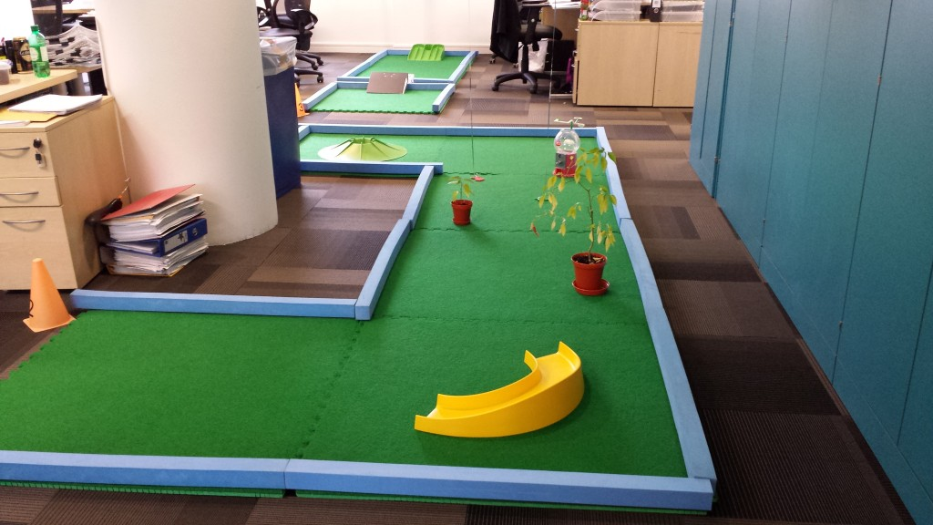 Corporate Crazy Golf in an office!