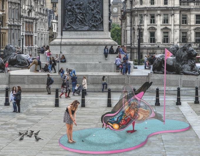Trafalgar Square, London Design Festival, Crazy golf, minigolf, visionary crazy golf