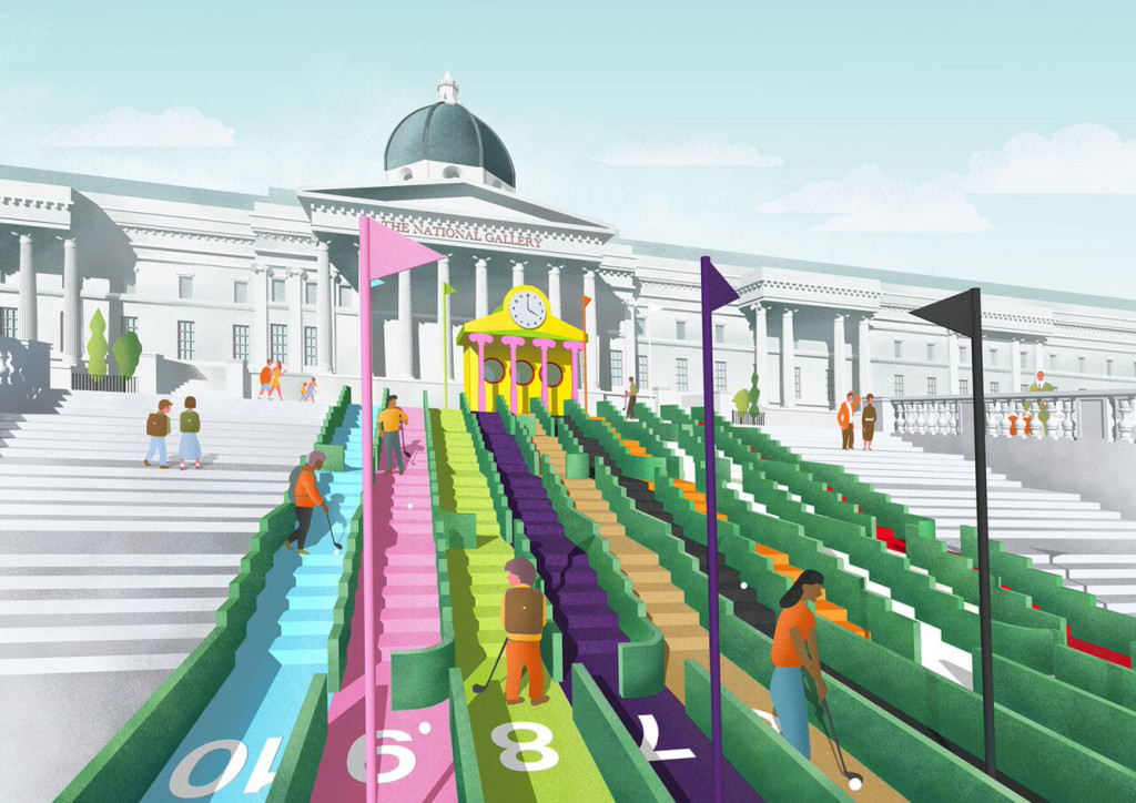 Trafalgar Square, visonary crazy golf, Paul Smith, Zaha Hadid,