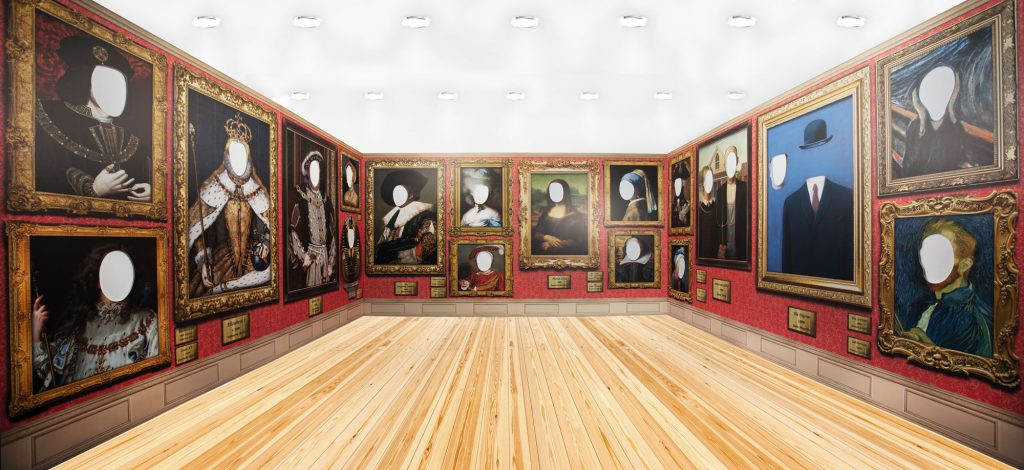 Portrait gallery, face in hole, classic portraits, paintings, games for hire