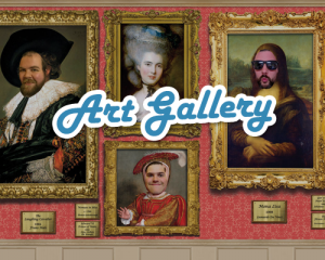 face in the hole, portraits, oil paintings, popup art gallery