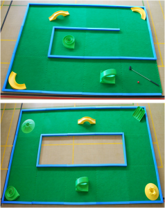 Crazy golf putting green tiles combinations