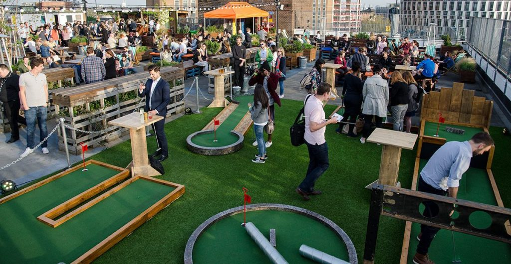 Rooftop crazy golf London Stratford, Spring 2017