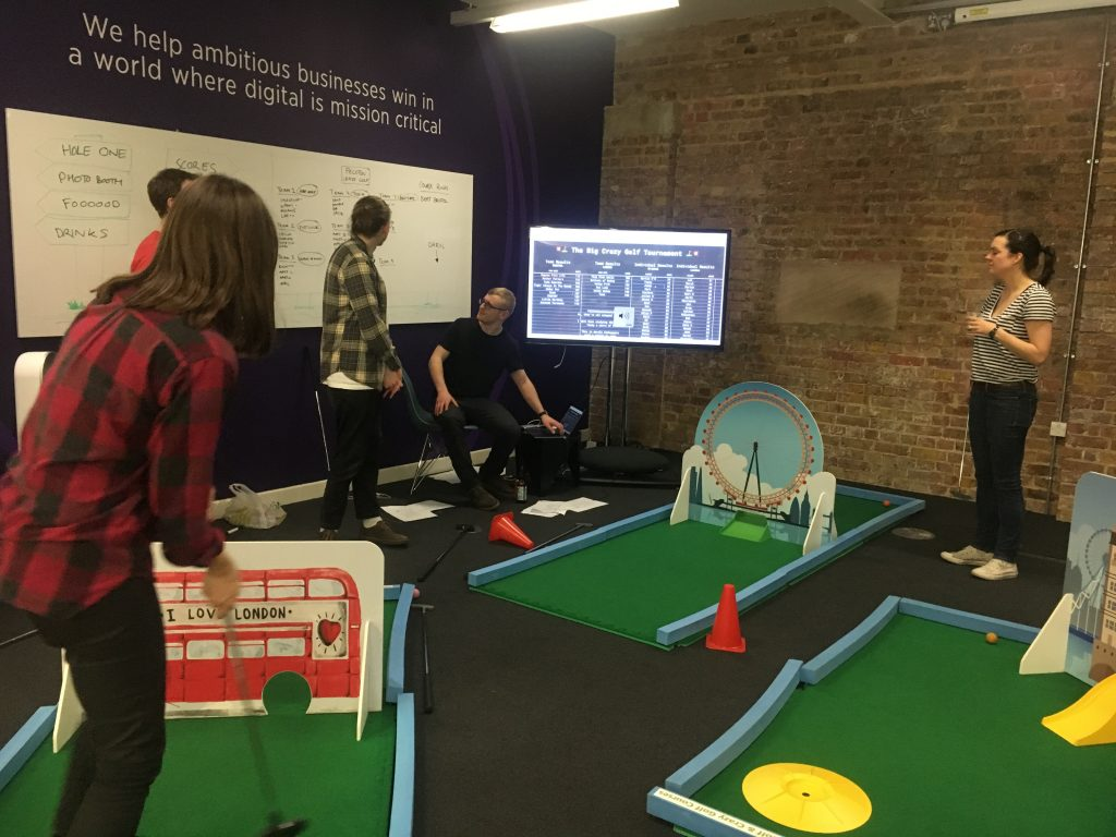 Crazy golf office parties