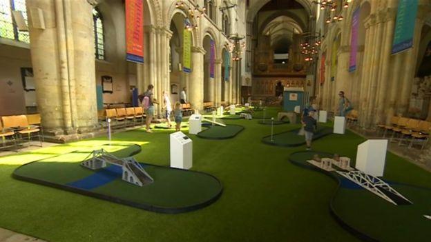 BBC Rochester Cathedral minigolf
