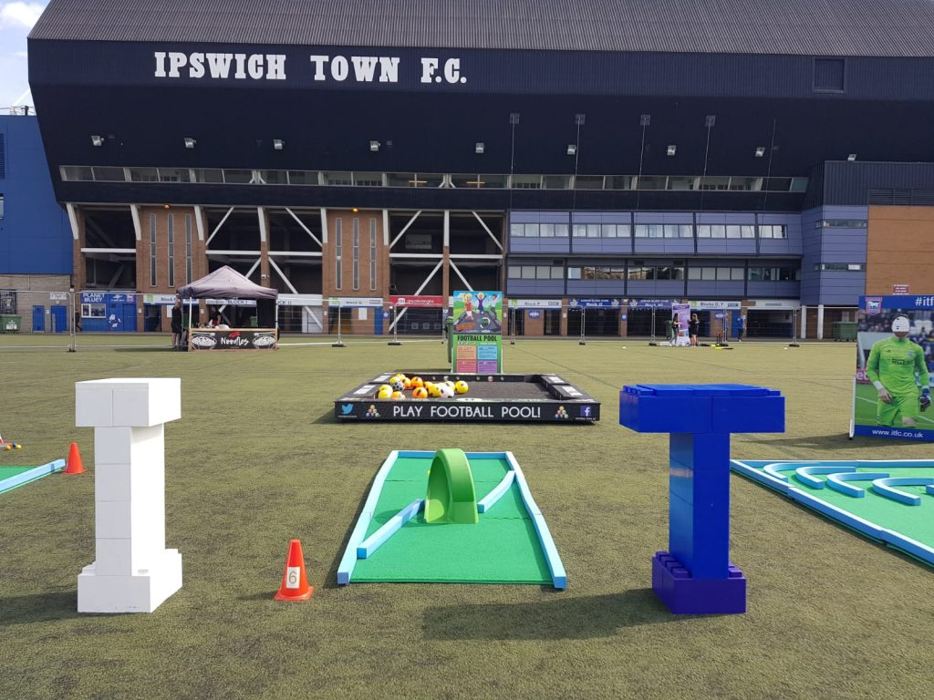 Giant bricks create focal point at Portman Road Fanzone