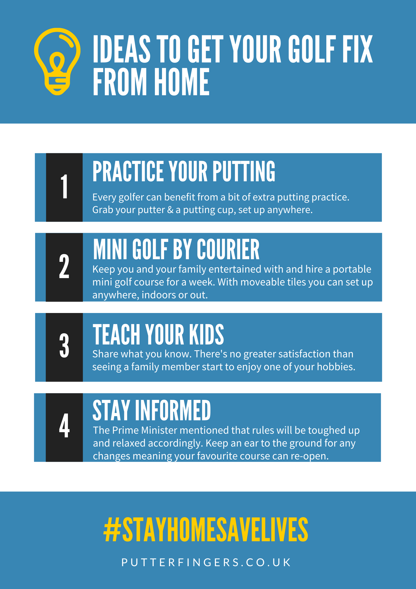 Golfing from home - ideas for practising golf from home during self isolation