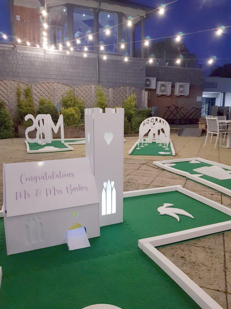 Wedding mini golf hire white course