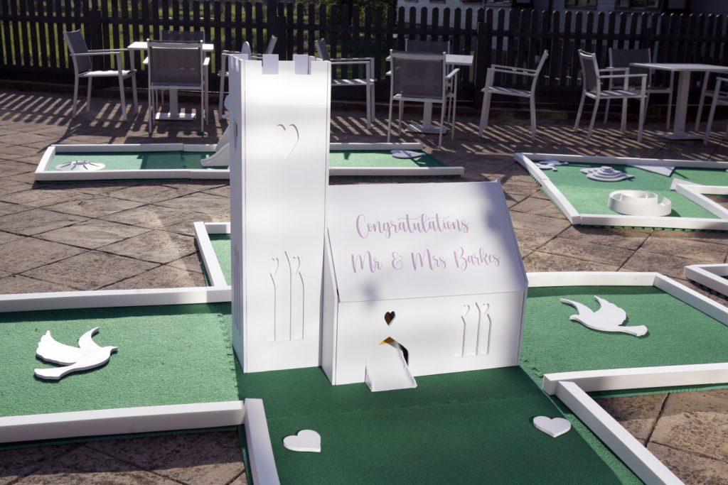 White wedding course mini golf crazy golf hire