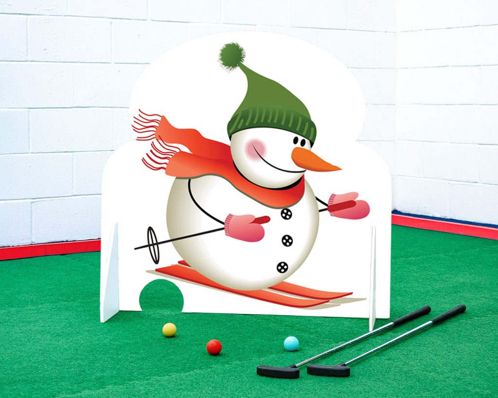 Crazy golf obstacle skiing snowman