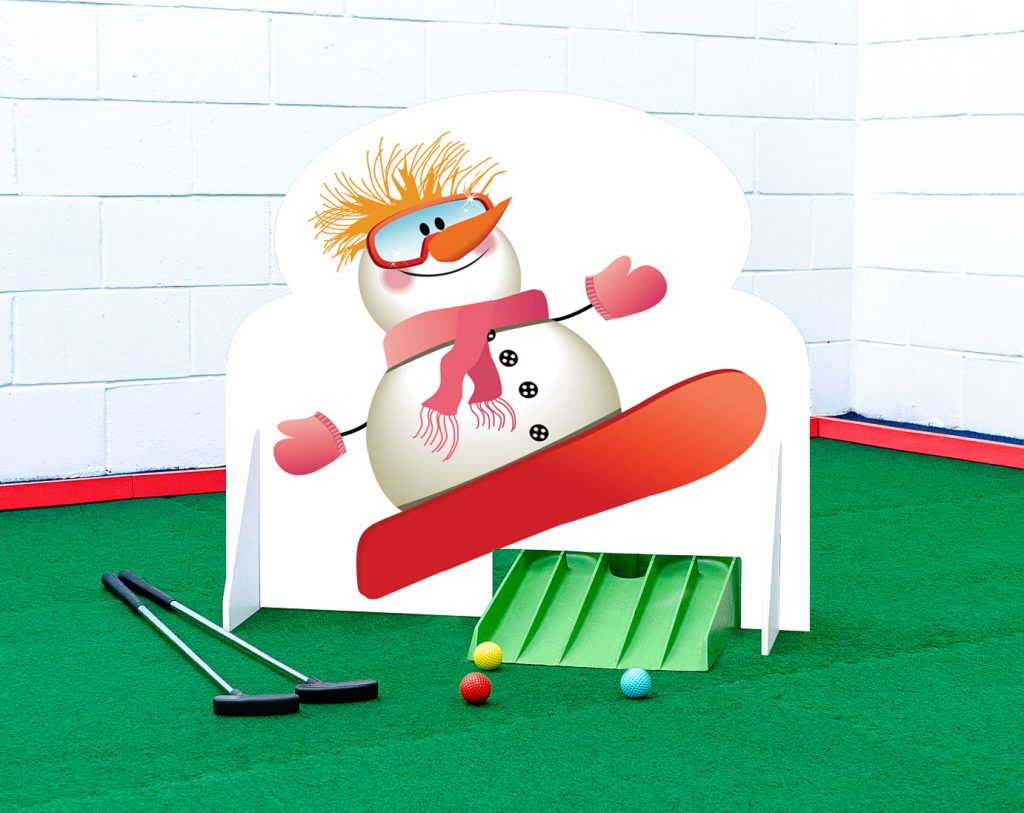 Crazy golf obstacle christmas snowman snowboard